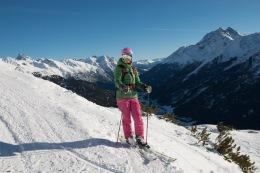 Skiing in Schöngraben, with Eisenspitze in the background (left of my helmet):